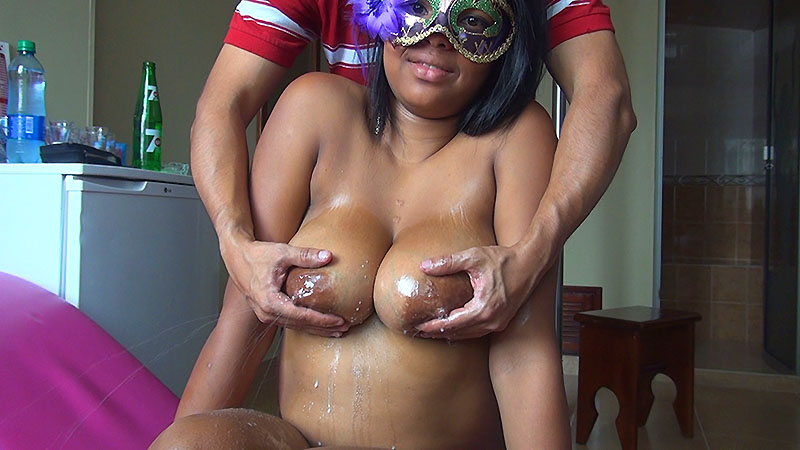 18 Year Old Lina Lactates While I Oil And Fondle Her Big Breasts