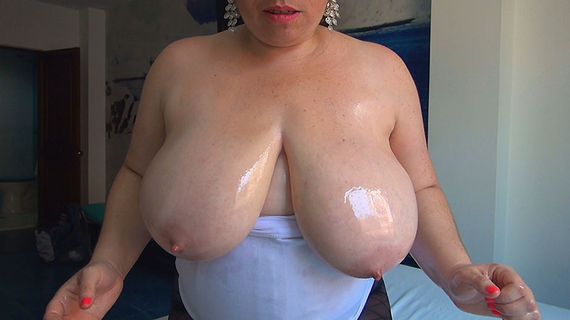 42G MILF Rosario Loves To Get Her Massive Breasts Oiled And Groped